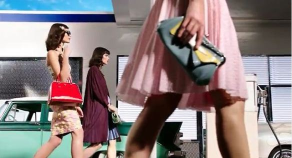 Leather tote and quirky clutch handbags Prada 2012