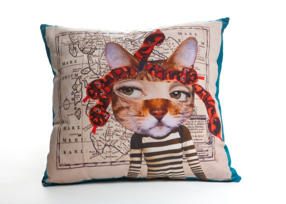 med cushion - Sam Morris - Wonderfully Weird Quirky Cat Cushion